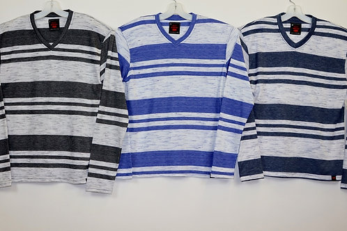 Long Sleeve Striped V-Neck Knit Shirt  108LS-B