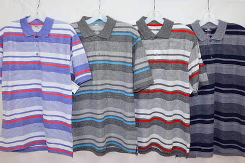 Short Sleeve Stripe Knit Polo  MKP-849B
