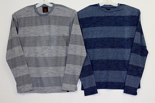 L/S Crew Neck Striped Knit Shirt  104LS-D