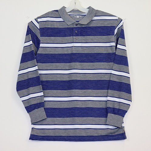 Long Sleeve Striped Polo Shirt 104ST-C