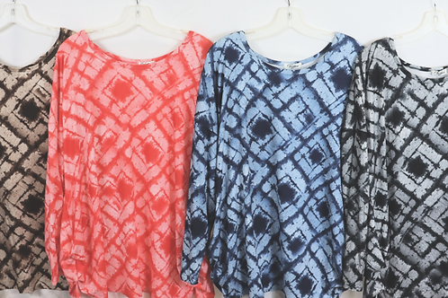 Long Sleeve Print Top with Round Neck  AP-8168
