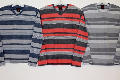 L/S V-Neck Striped Knit Shirt 108LS-G