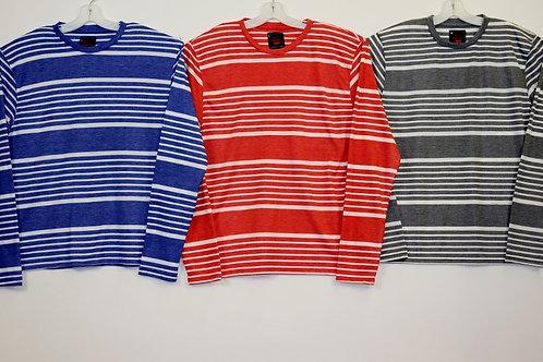 L/S Crew Neck Striped Knit Shirt  108LS-E
