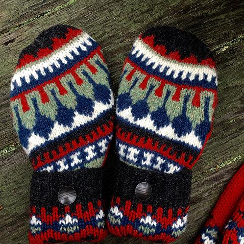 Nordic knit mittens/leg warmers combo