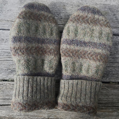 large felted patterned mittens