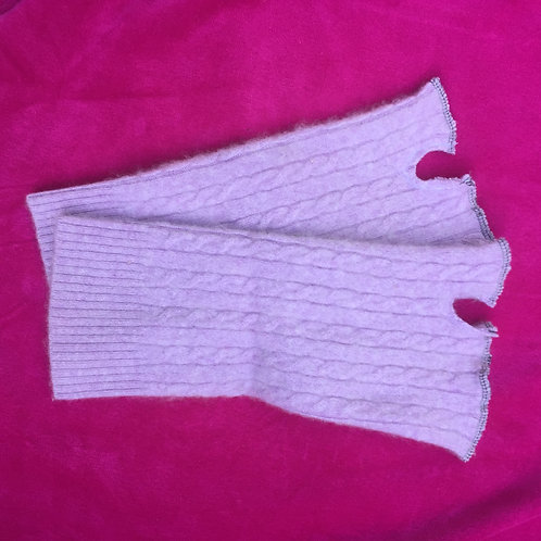 lavender fingerless gloves, cashmere