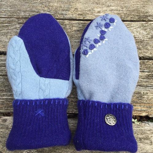 Blue and purple , embroidered medium slender