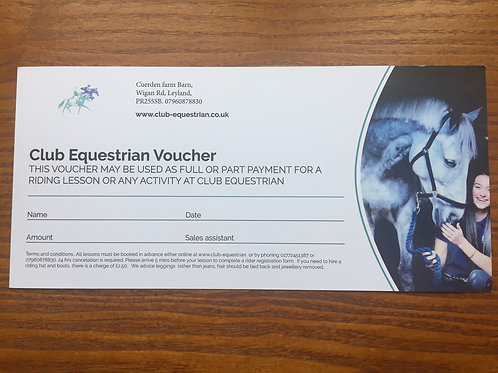 Club Equestrian Private Lesson Voucher.