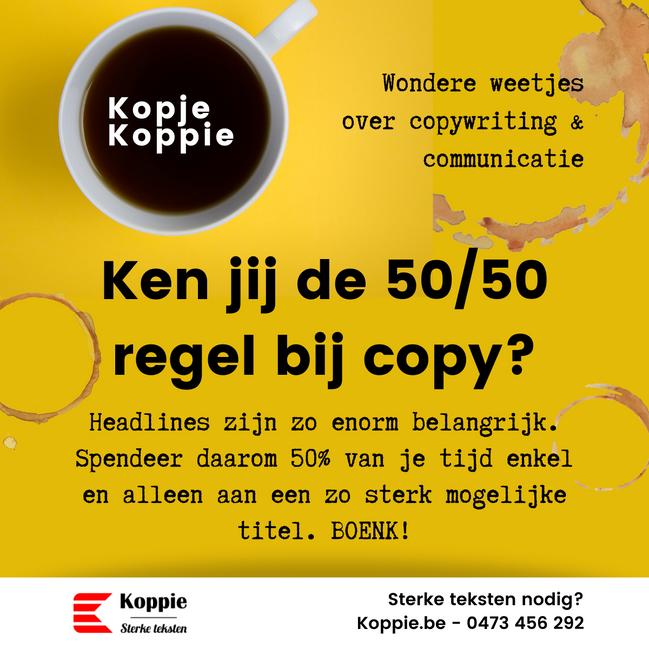50/50 regel bij copy
