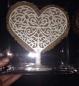 Burlap and Lace Heart Cake Topper