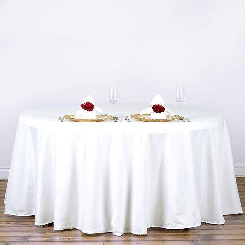 "120"" White Round Tablecloths"