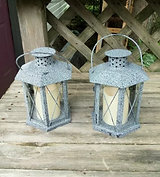 Grey Lanterns with Flameless Candles