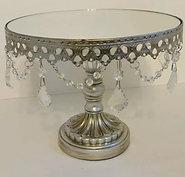 Round mirror top wedding cake display stand antique silver jewel centerpiece