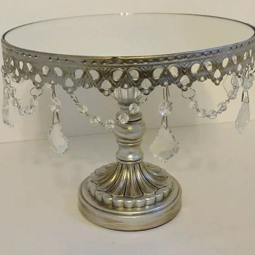 Round mirror top wedding cake display stand antique silver jewel centerpiece