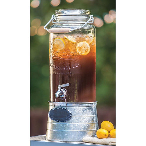 Glass and Galvanized drink dispenser