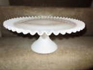 White Fenton Glass Ruffled Edge Cake Stand