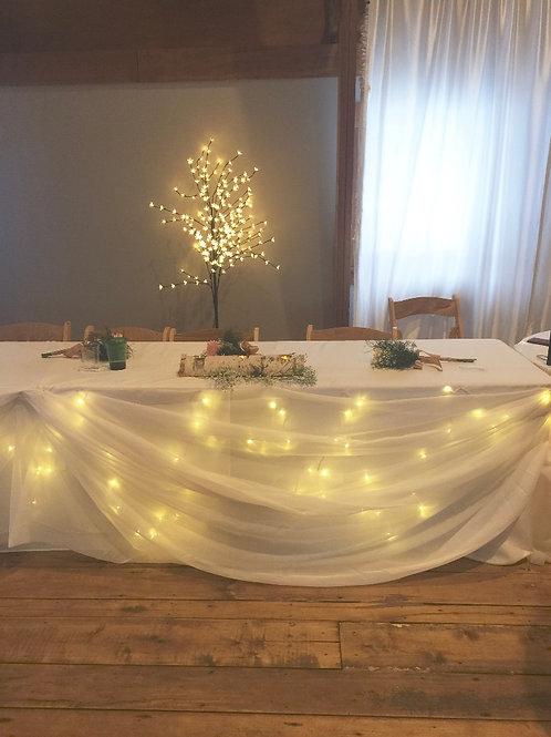 Head Table Skirting, Table Cloth, and Lighting