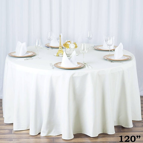 "120"" Ivory Round Polyester Tablecloths"