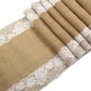Natural Burlap Table Runners With Lace