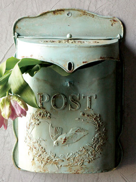 Vintage Looking Light Green Mail Box Gift Card Holder