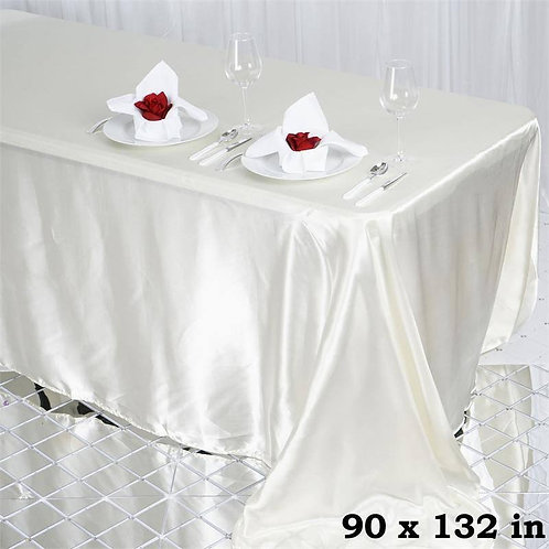 "90 x 132"" Ivory Satin Banquet Rectangular Tablecloth"