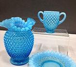 Blue Opalescent Hobnail Vintage Glass