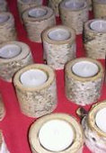 White Birch Bark Candle Holders