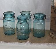 Assorted color vintage mason jars