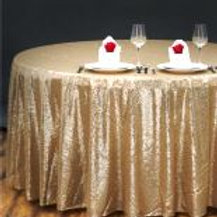 "108"" Round Champagne Sequin tablecloth"