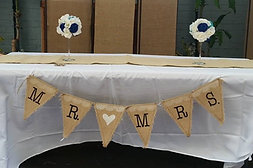 Burlap Lace Mr. and Mrs. Banner