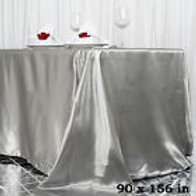 "90"" X 156"" Silver Rectangular Satin Tablecloth"