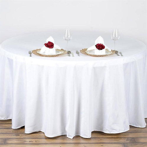 "90"" Round White Tablecloths"