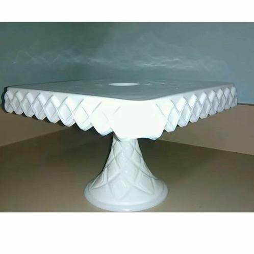 Square Milk Glass Cake Stand