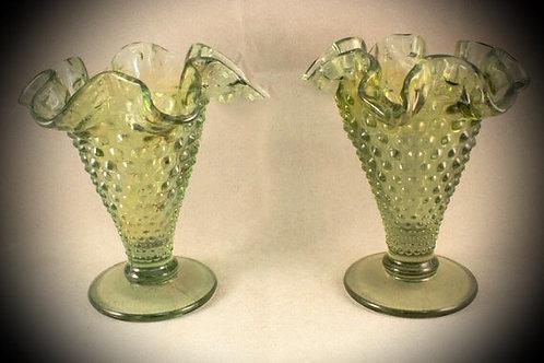 Green Hobnail Vintage Vases