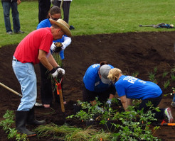 Volunteers at the initial planting
