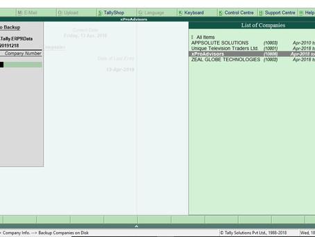 Tally Data Backup Process