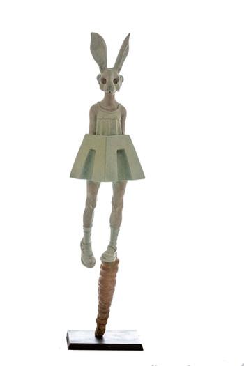White Rabbit  Dimensions: 53 x 14 x 14 cm Media: Bronze, enamel Edition of 6 Year: 2018