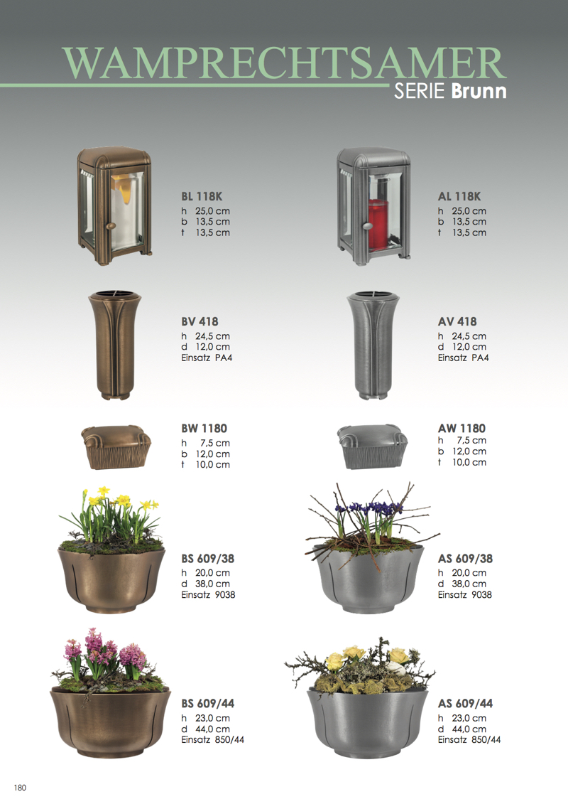 Nistelberger Laternen, Vasen, Grabschmuck, Bronze, Wamprechtsamer Seite 180