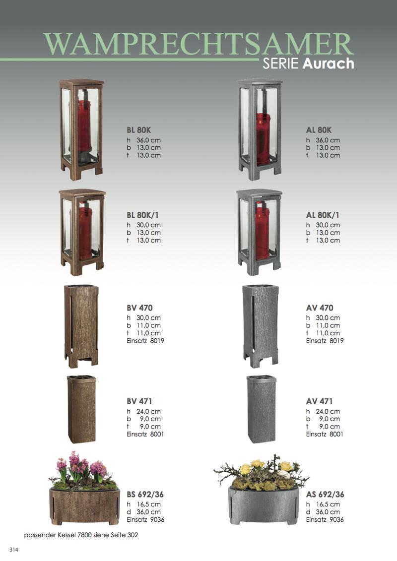 Nistelberger Laternen, Vasen, Grabschmuck, Bronze, Wamprechtsamer Seite 314