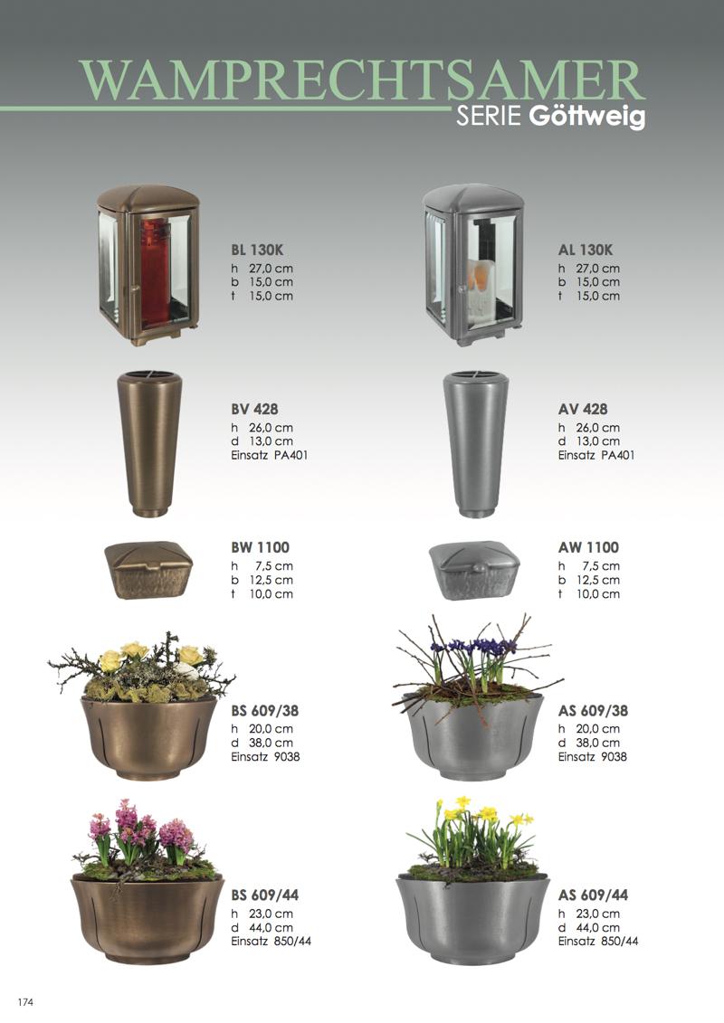 Nistelberger Laternen, Vasen, Grabschmuck, Bronze, Wamprechtsamer Seite 174