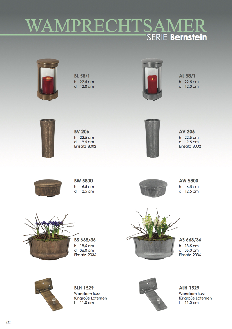Nistelberger Laternen, Vasen, Grabschmuck, Bronze, Wamprechtsamer Seite 322