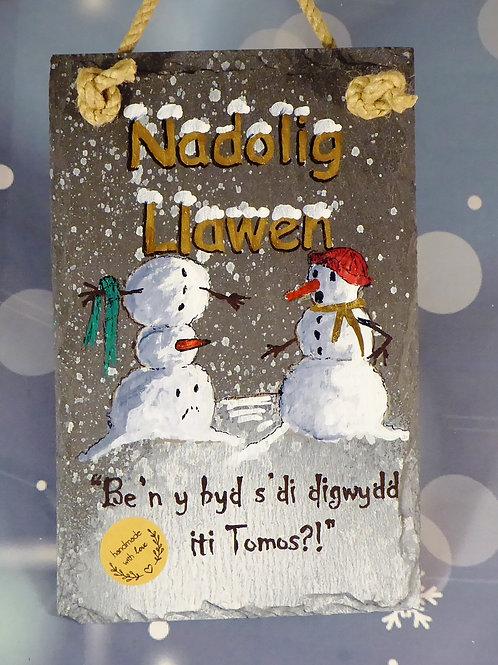 Nadolig Llawen or Merry Christmas - two snowmen