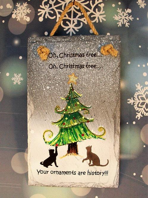 Slate Plaque - Christmas tree - cats!