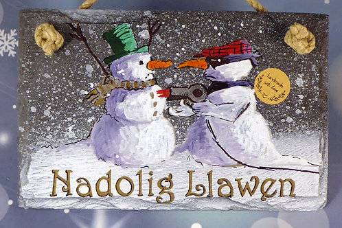 Nadolig Llawen or Merry Christmas - Two Snowman