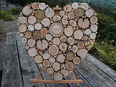 Wooden heart shaped wedding guest book