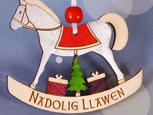 Nadolig Llawen or Merry Christmas Rocking Horse