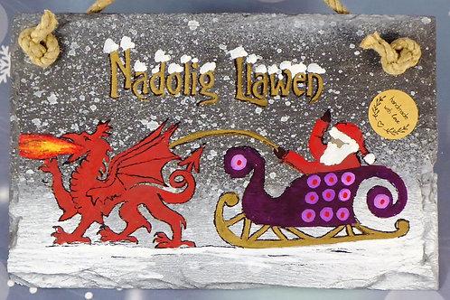 Nadolig Llawen or Merry Christmas Santa Sleigh