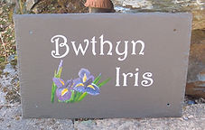 Engraved and hand painted slate house sign
