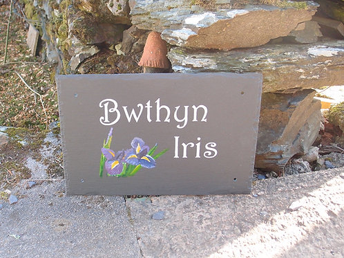 House sign with hand painted graphic