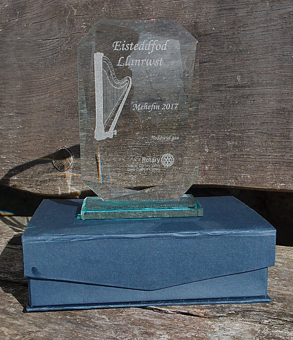 Glass trophy engraved for the Llanrwst Eisteddfod